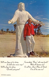 Nevertheless, while the prayer may be rather thought provoking, this postcard is hard to take seriously with a tacky Jesus statue and a guy who resembles Bill Murray dressed as Colonel Sanders.