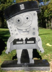 Now I may have seen many things in a cemetery, but I haven't seen a monument quite like this. Still, I don't think Spongebob has a place in a cemetery, and why erect such a monument in the first place?