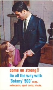 "I'm sure ""come on strong"" and ""go all the way"" don't seem to be taken out of context especially since he's seems to be with a woman in a residential setting. And they seem to be making eye contact as if they're about to do it. And they say hookup culture only took place in my generation. Hell, this has to be from the 1970s at the earliest."