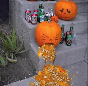 Now humor relating to drunk people puking may be funny for an adult audience. Yet, it's not appropriate Halloween humor for most trick or treaters. Also, very messy.