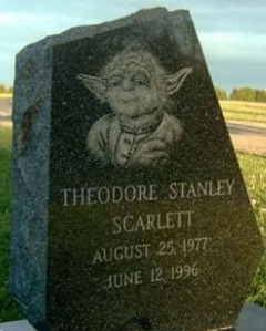 Then again, I bet his favorite Star Wars character was perhaps the wrinkly green guy who most people could imitate. Too bad this kid died before he could see Yoda kick ass in the prequels.