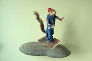 Now the most amazing thing about this piece is how the person managed to have Aladdin squirrel fly on a flying carpet that seems almost too small for him.