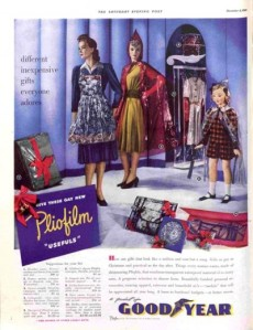 Yeah, I'm sure that plastic ponchos make a great Christmas gift even if they do look ridiculous. Still, I don't think the housewife seems very happy in this illustration. Yet, I'm sure those materials aren't very good for the environment.