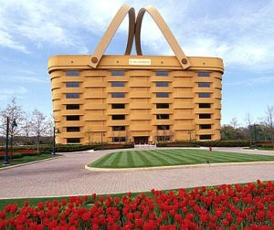 Fittingly, this building is a headquarters for a the Longaberger Basket Company in Ohio. Though appropriate and not very ugly, I don't know if any of Longaberger's employees would be comfortable telling their friends that they work in a basket. Boy, they must be real basket cases there.