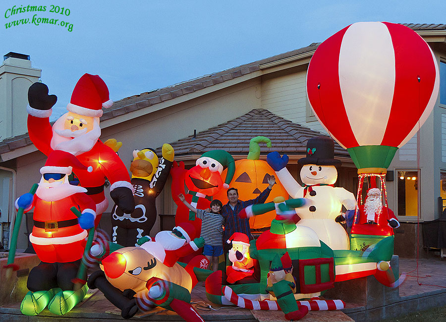 up on the housetop on christmas inflatable decorations