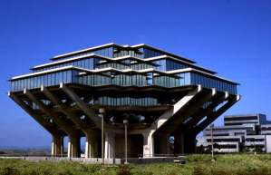 "Now this is the Geisel Library in San Diego, built in honor of Theodore Geisel a. k. a. ""Dr. Seuss."" This style is more reminiscent of something you'd see from Star Wars or Close Encounters with the Third Kind. Would've been better if its chief benefactor designed this building himself."