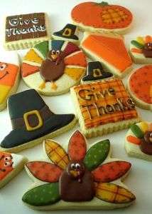 Now these include a pumpkin pie slice, turkeys, and a male Pilgrim hat. Also, see some candy corn which is strange.