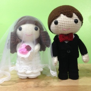 I see a lot of wedding amigurumi figures as well. Still, while cute, I hope the bride and groom would treasure these forever and not let any of their children play with them. You have no idea what kids can do to toys.