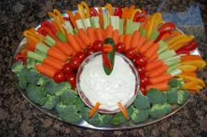 Yes, this is another turkey veggie platter. But I think this one is a little more subdued than the last one I've shown.