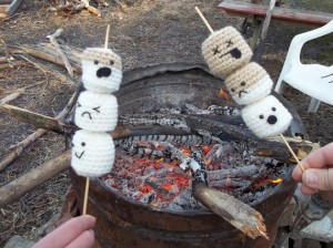 I'm sure the shaded part is already burned and one of the marshmallows is already dead. And I'm sure the others are fearing an upcoming infernal demise.