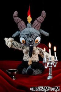 I'm sure this Satan goat doll with bare breasts isn't going to make an appropriate children's toy by any stretch of the imagination. Still, demented but cuddly.