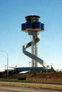 I don't know where this building's from. Yet, wherever it is, it's not an amusement park ride or air traffic control tower. Still, this wouldn't make my dad any more eager to get on it though.