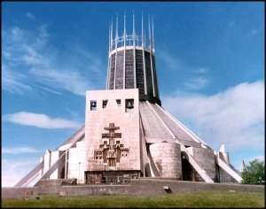 "This is the Metropolitan Cathedral of Christ the King in Liverpool. Yet, while the interior is pretty spectacular, its exterior doesn't inspire thoughts of heaven and salvation.  It's also called, ""The Sacred Blender."" Still, if there are any space aliens who wish to join the Catholic Church, then this would be a perfect place for them to worship."