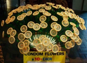 I'm sure every girl out there wants their boyfriend to send them a dozen condom flowers for Valentine's Day. For God's sake this bouquet is in such poor taste as well as the fact you'd be embarrassed to have such a display in your home. This is especially true if you or your guests have kids. Perhaps these would look better in a love nest or sex dungeon.