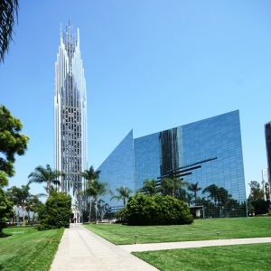 This was Joel Osteen's Chrystal Cathedral which is a few miles from Disneyland in Los Angeles. It's now Christ Cathedral and part of the Catholic diocese of Orange County after the place went bankrupt. Still, I'm surprised that the high tower doesn't seem to contain the eye of Sauron.