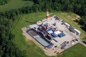 Here's a photo of what a typical natural gas drill pad looks like. Now drilling and fracking operations have the tendency to take days at a time.