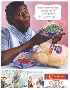You can figure the woman in this ad isn't going to eat the food she's wrapping up because her wardrobe screams,