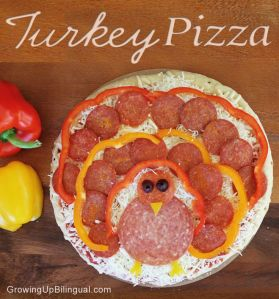 Now this uses pepperoni instead of actual turkey meat. Still, looks like a turkey to me.