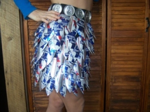 Now if this girl's in college, it's very likely that her boyfriend's in a fraternity. Else, how else could she collect all the Pabst beer cans to make this.