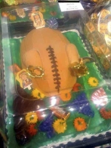 Wait, is that a turkey or a football with drumsticks? Seriously, this might not have been a good idea.