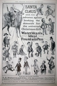 This is an ad for Weatherman's Fountain Pen. Still, it's pretty disturbing having all those people connected to Santa through wires on their bodies. So Santa is the ultimate puppetmeister.