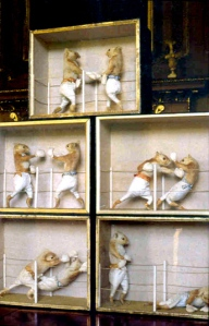 This is a diorama of a squirrel boxing match. Notice the squirrels have no shirts on and aren't going bare knuckle. Still, I wish they'd sport handle bar mustaches for the old timey feel.