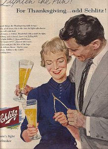 Let's hope that this couple is married to each other because I think I know what happens after they pull the wishbone and put go to bed. Still, why so many Thanksgiving ads for booze?