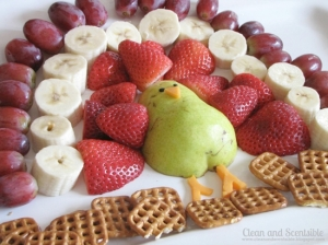 Of course this turkey is made from cheese, pear, strawberries, bananas, and grapes. And it's walking on waffle pretzels.