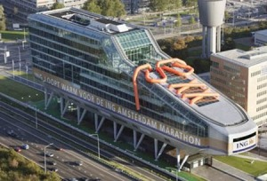 This is the building for the Amsterdam Marathon. Of course, the shoe design is quite appropriate, though it could sometimes be seen as an ice skate.
