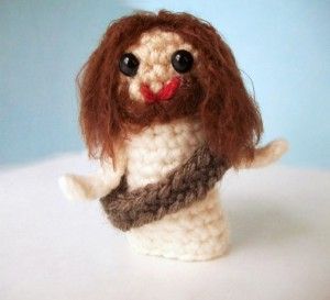 Sure I'm a Catholic Christian but I can't pass any stuff pertaining to Jesus for my blog posts. Still, he's very cute as a crocheted finger puppet you wouldn't want to put in a Passion play.