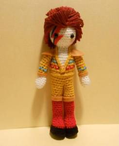 "Hard to believe this is my second David Bowie amigurumi I put on this post already. Yet, I'm sure anyone who's listened to ""2001: A Space Oddity"" would love it. I mean it's very cute."