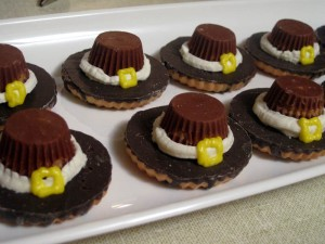 Of course, you'll use the same kind of cookies as the Pilgrim hats with the marshmallows though.