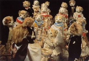 Yes, this is a kitten wedding scene from the Victorian Era. Sure it may look rather cruel by our standards, but back in the day, it was very common to kill kittens to control population.