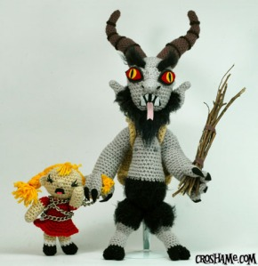 Now the Krampus isn't a Christmas tradition we have in the United States. But it is popular in certain areas of Europe. Still, this little girl doesn't seem very happy by any means.