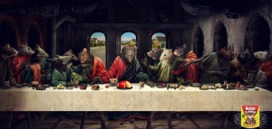 Of course, I had to do a taxidermy take on the Last Supper since it's a very famous painting. Nevertheless, I can't really tell who's who here other than Jesus.