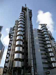 My mistake. That's the Lloyd's Building, headquarters of Lloyd's of London. Still, despite being a well known high end insurance company known to issue a policy on Betty Grable's legs, why they made it look like a large factory from Fritz Lang's Metropolis is beyond me.