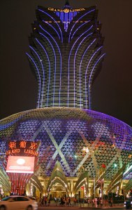 Now Macau's Grand Lisboa seems to remind me of some high end perfume bottle a rich lady would be embarrassed to have. Oh, and did I say, it has a lot of lighting configurations at night. Still, this gives Las Vegas a run for its money.