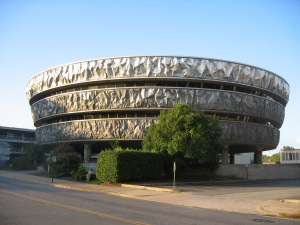 Yes, it looks like either a space age stadium or some massive UFO. Ironically, it was said to be inspired by a baked potato. Still, I wonder if my sister at VCU has seen this monstrosity.