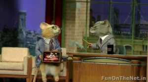 Now this is a diorama for Steve Carell's appearance on David Letterman in which he presents this diorama. Still, I think the mice should've been the other way around since Letterman has lighter hair.