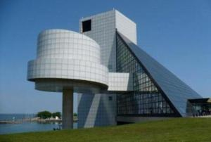 This is the Rock and Roll Hall of Fame Museum in Cleavland. Yeah, those circular things on the pole are supposed to be records. Even its architect I. M. Pei was unhappy with this design. Then again, you can't say much for the looks of those who get inducted in it either.