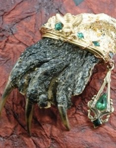 Just what I need for my new outfit: a decaying disembodied turtle foot encrusted in jewels. Wonder what happened to the rest of the turtle.
