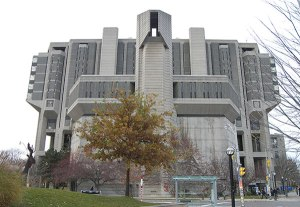 Actually that's the Robarts Library for humanities and social sciences at Canada's University of Toronto. Still, it's a more fitting design for a Cold War era propaganda machine or the Ministry of Truth from 1984.