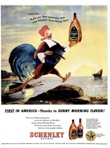 Now I've seen turkeys before in cartoons and in real life. Now I can say that you may call wild turkey whiskey but that bird in the Pilgrim outfit depicted in the ad just looks like a rooster to me. More like a Rhode Island Red than Wild Turkey.