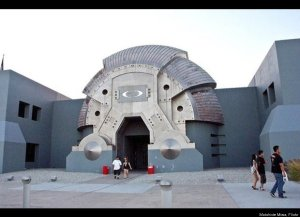 This is the building for the Oakely Headquarters in Orange County, California. It's a company that made sunglasses that haven't been cool since the 1990s. Designed as a Star Wars-esque monument to the machine age to honor invention, its style has never really caught on for some reason.