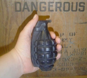 At least unlike a real grenade, this soap one won't make your house explode or kill you if you pull the pin.