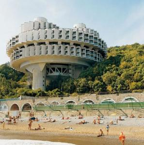 This is actually a resort hotel at a beach in Yalta, a well known Russian vacation spot in the Soviet Era. Still, it does remind me of Dr. No's place for some reason.