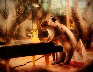 """Sing us a song you're the piano squirrel, Sing us a song tonight. Well, we're all in the mood for a melody, And you've got us feeling alright."" Harmonica music should ensue by this point."