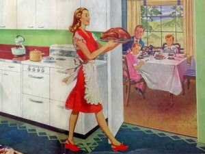 Talk about setting impossible standards for women back in the day. Also, Dad seems to be wearing his suit and tie for some reason. Not to mention, the kitchen seems way too immaculate for any cooking to take place.