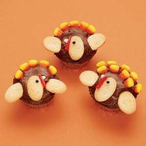 Now these have cookies for heads and wings as well as candy corn feathers. Still, such an adorable combination.