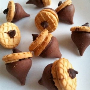 With peanut butter cookies, Hershey's Kisses, and chocolate chips, I'm sure kids will go nuts over these bite size acorns.